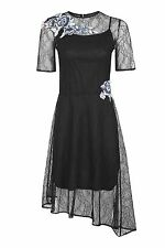 TOPSHOP Black FLOWER EMBROIDERED LACE DRESS. UK 12. ALL OVER LACE. WEDDING STYLE