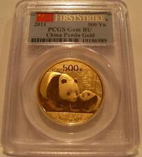 China 2011 Gold 1 oz Panda 500 Yuan PCGS GEM BU First Strike