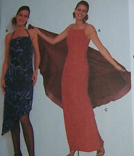 strappy EVENING GOWN DRESS Pattern 8-20 OOP w/ shawl easy straight shift ELEGANT
