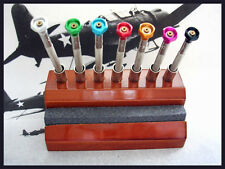 Screwdriver 7pc with Oak Stand an Sharpener Swiss watchmakers tool IW SUISSE USA