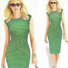 Women Striped Business Office OL Sheath Bodycon Slim Cocktail Party Pencil Dress