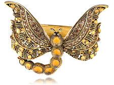 Large Fashion Topaz Crystal Rhinestone Dragonfly Gold-Tone Bracelet Bangle Cuff