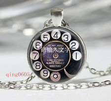 Vintage Phone Button  Cabochon Tibetan silver Glass Chain Pendant Necklace #F03