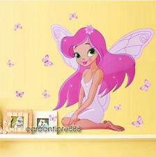 PINK FAIRY PRINCESS Butterflies Wall Stickers Girls Room Nursery vinyl Art Decal