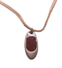 Chic Bronze & Blood Red Enamel Oval Pendant/ Brown Suede Necklace(Zx177)