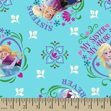 """Disney Frozen My Sister My Hero 100% cotton 44"""" wide fabric by the yard (36"""")"""