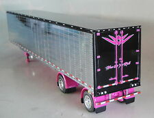 CHROME RIBBED REEFER BLACK TOP PINK FRAME TRAILER ONLY 1/64 DCP DIECAST 33709