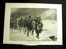 L.J. Pott MARCH from MOSCOW RUSSIA in SNOW STORM 1880 Large Folio Engraving