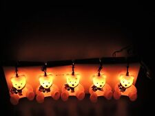 """Vintage GE 10 Light String of Fuzzy """"Flocked"""" BEAR Indoor Electric Lights In Box"""