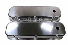 BBC Chevy 454 Polished Aluminum Tall Valve Covers Smooth Top - Big Block 396 427