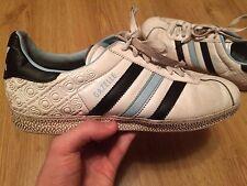 Adidas Gazelle VINTAGE White Leather Trainers Size- UK 9 / US 9.5 / EUR 43 1/3