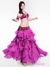 New Luxury Belly Dance Costume 4 Pics Bra&Belt&Skirt&Armbands 34B/C 36B/C 38B/C