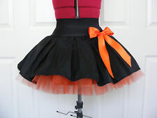 NEW HANDMADE GIRLS BLACK / ORANGE TUTU MINI SKIRT IRISH DANCE SCHOOL 10 - 12 YRS