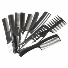 10 Pezzi Acconciatura Pettine Set PROFESSIONALE NERO PARRUCCHIERE BRUSH BARBER