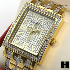 Men Gold PT Bling Hip Hop Elgin Rectangle Cross Stainless Steel Watch GW125G