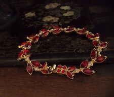 Vintage Navette Marquise Ruby Red & Light Amethyst Crystal Bracelet. Gold Plated