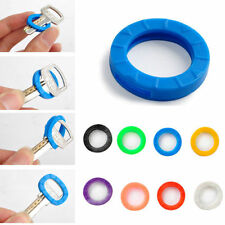 8PC Bright Color Hollow Silicone Key Cap Covers Topper Keyring With Bly Braille