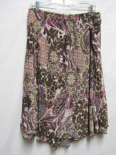 NOTATIONS 3X 20/22Skirt Stretch Waist 36-44 lined washable Brown Multi
