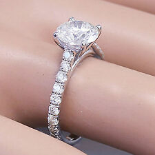 14KWhite Gold Round Forever One Moissanite and Diamond Engagement Ring 1.50ctw
