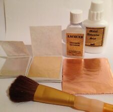 Leaf Kit. Adhesive,Gold,Silver, Copper Sheets, lacquer, Christmas Card Craft
