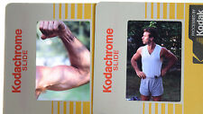 VTG Slide Photos Young Male Strong Man Muscle Mustache Smoking Pipe Gay Interest