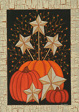 "Starburst Pumpkin Fall House Flag Primitive Star Berries Rustic Banner 28""x40"""