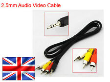 2.5mm 4-pole Jack Plug to RCA Phono Plugs AV Lead Cable - Camera Camcorder - UK