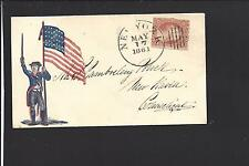 CIVIL WAR PATRIOTIC COVER,1861,#26, VF+ NEW YORK, NEW YORK, CDS, EARLY USE.