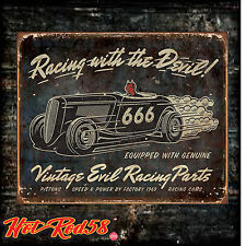 Devil 666 Hot Rod Vintage Car Diner Retro Old Tin Metal Sign Man Cave Wall art