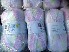 JAMES C BRETT DOUBLE KNITTING BABY MARBLE WOOL CERISE LEM 5X100G YARN KNIT BM20