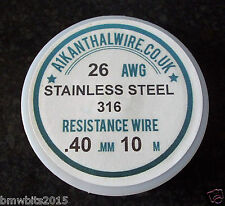 Stainless steel SS 316L 26awg  40mm Resistance Coil Wire RBA RDA  10m Spool