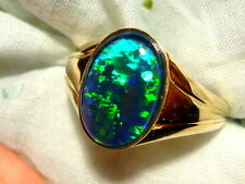 Mens Opal Ring 14ct Yellow Gold, Natural Opal Triplet. 14x10mm Oval . item 90129