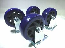 "Set Of Four 4"" Heavy Duty Swivel Casters, 4"" Blue Wheels"