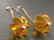 Vintage Deco Golden Amber Melon Glass & 14ct Rolled Gold Drop Earrings
