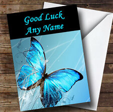 Blue Butterfly Personalised Good Luck Greetings Card