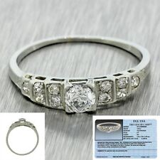 1930s Antique Art Deco 20k White Gold 0.57ctw Diamond Engagement Ring EGL $1800