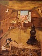 Nus féminins ancien c1960/70 Art naïf Peinture huile sur bois signé A IDENTIFIER