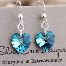 925 Sterling Silver Drop Earrings Swarovski Elements Crystal Heart Bermuda Blue