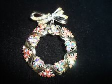 Aurora Borealis Cluster Crystal Statement Pin Brooch Pink Bow Wreath Holiday