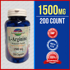 L-Arginine 1000mg +500= Max 1500 Serving 200 Cap USA-GMP HIGHEST Pharma Grade
