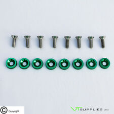 Plain Green M6 Anodized Aluminium Fender Washer Kit for Engine Bay - SS/Bolts