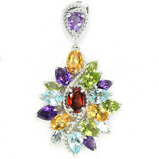 Silver 925  Rainbow Colour Faceted Genuine Natural Gemstone Cluster Pendant #2