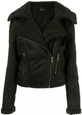 Topshop Black Sheepskin Faux Fur Leather Shearling Aviator Biker Jacket 8 4 36 S