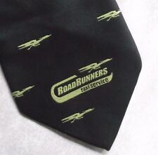 ROAD RUNNERS TAXI SERVICE COMPANY TIE 1990s VINTAGE RETRO CORPORATE BLACK
