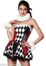 Ladies Sexy Corset Court Jester Carnival Medieval Fancy Dress Costume Outfit
