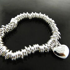 A703 GENUINE REAL 925 STERLING SILVER S/F LADIES HEART CHARM BRACELET BANGLE