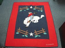 "SIGNED 1990 JUDI BOISSON 41""x52"" QUILTED COWBOY ON BUCKING BRONCO BLANKET QUILT"