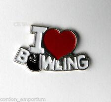I LOVE BOWLING HEART NOVELTY LOGO LAPEL PIN 3/4 INCH