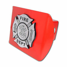 Firefighter Chrome and Black, Red Trailer Hitch Cover Maltese Cross Made in USA!