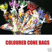 Cello Cone Bags Cellophane Party Sweet Bags Favour gift bags 7 Colours, 3 Sizes